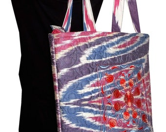 Stylish summer purse Uzbek textile rectangle bag with Moroccan tassle trimming and cotton cord shoulder straps Ikat fabric holiday bag