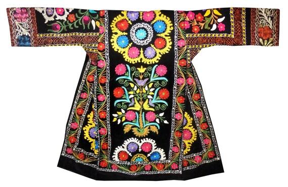 fully silk embroidered black silk velvet caftan uz