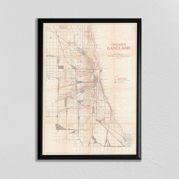 Chicago Gang Map, Chicago Map, Chitown, Map of Chicago, Al Capone, Gangland  Map, Crime Map, Chicago Landscape, Vintage Map, Chicago Skyline