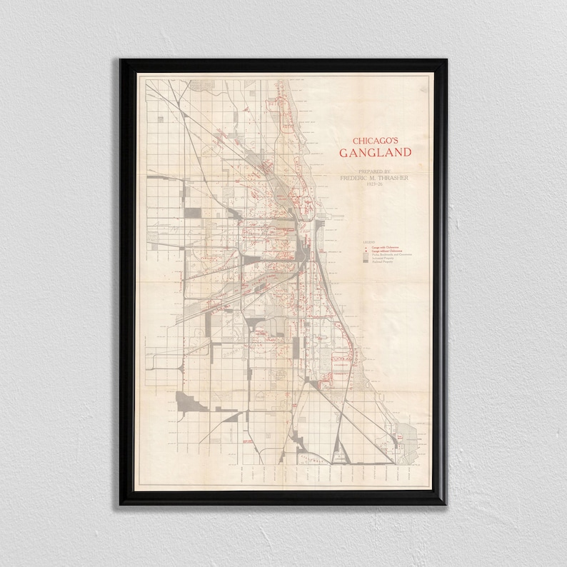 Chicago Gang Map Chicago Map Chitown Map of Chicago Al   Etsy