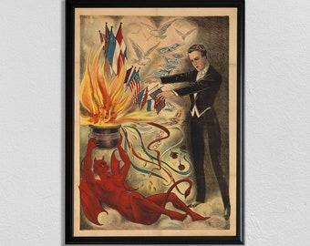 Magic Poster, Magic Lover Gift, Magician Art, Paris Wall Art, Antique Theatre Poster, Vintage Wall Art, 1800s Poster, Home Decor Art