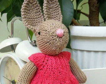 hand knitted bunny girl toy stuffed animal birthday gift