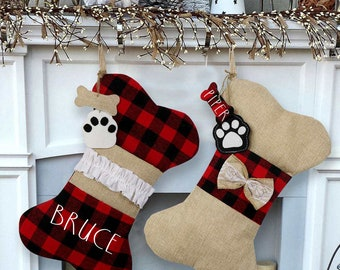 Personalized Dog Christmas Stocking Pet Buffalo Plaid Dog Bone Stocking Christmas Gift for Dog with Name