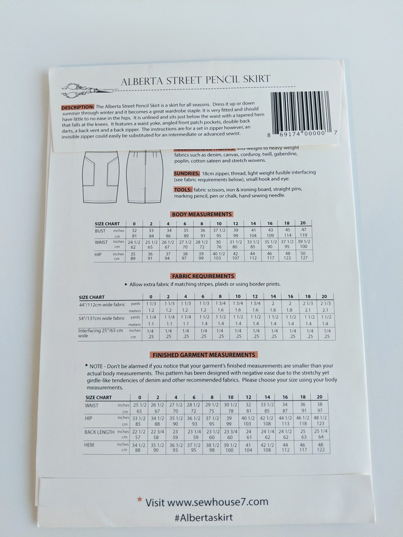 Paper Pattern Sew House Seven The Alberta Street Pencil Skirt Sewing Pattern