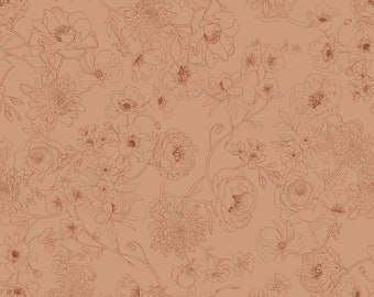 NOW IN STOCK!! Floralines Toast - Jersey Knit Fabric - Family Fabrics Design