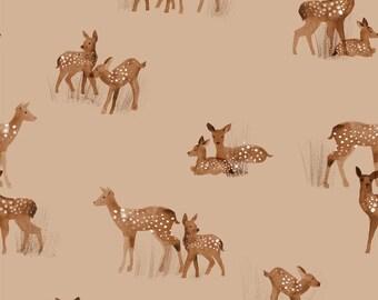 NOW IN STOCK!! Fawn Hazelnut - Jersey Knit Fabric - Family Fabrics Design
