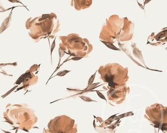 Roses & Birds - Jersey Knit Fabric - Family Fabrics Design