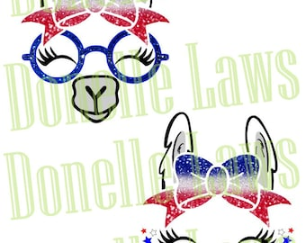 Red White Blue Llama Print N cut file
