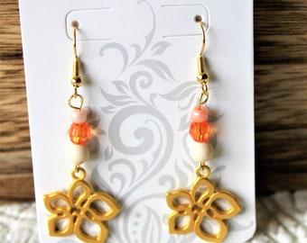 Hibiscus flower drop earrings