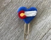 Colorado Heart Planner Clip page marker bookmark wool heart paper clip needle felted decorative clip planner supplies journal notebook