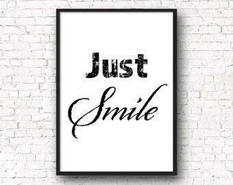 Think positive Art mural décoration design noir et blanc   Etsy