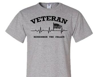 Veteran Remember the Fallen Tee / veteran / military / American flag / Army / air force /Navy / Marines / memorial day / veterans day / flag