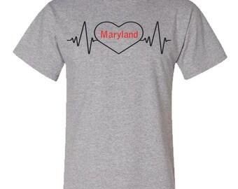 d70c3f23f8 I Love Maryland Heartbeat tee