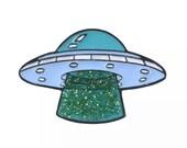 Area 51 Space Ship Gift Lapel pin Denim Jeans shirt bag Cartoon Jewelry Gift