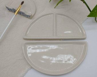 "Paint Palette - 6"" Open Mixing Sunrise Ceramic Palette, Hand Carved Palette, Acrylic, Watercolor"