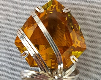 Yellow Citrine Necklace Wire Wrapped Pendant Sterling Silver