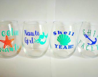 "Nautical ""Nauti"" Stemless Wine Glasses - Set of 4"