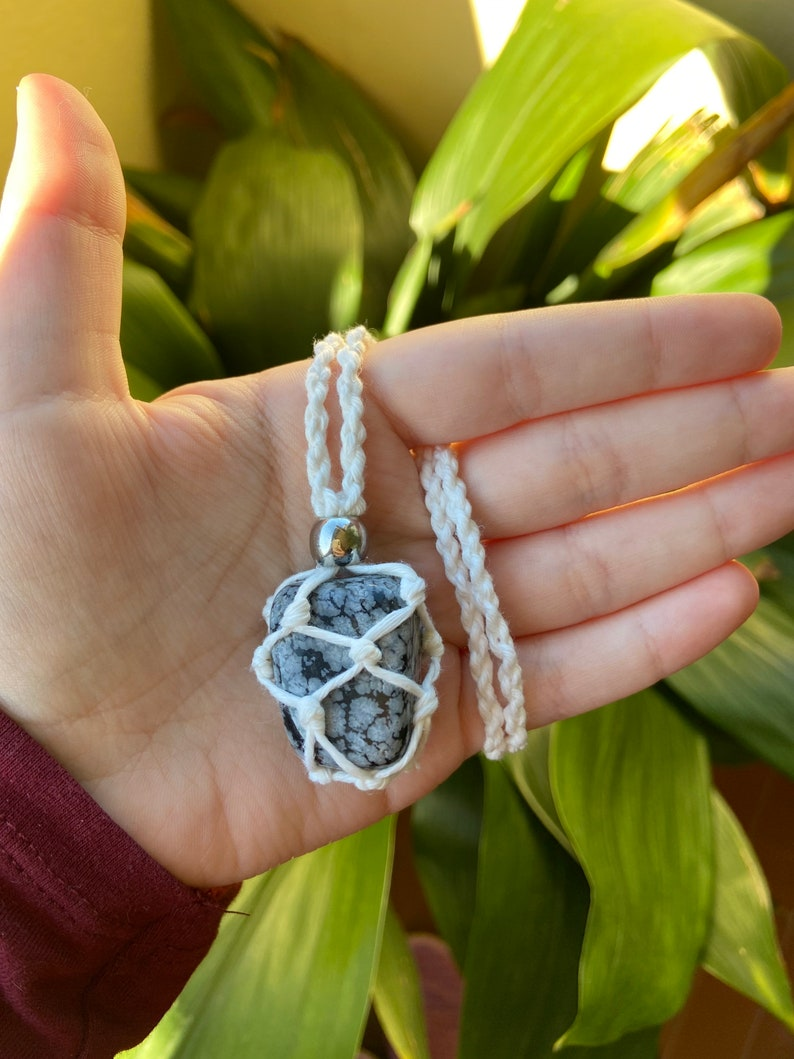 Handcrafted macram\u00e8 necklace with a wrapped gemstone Harry Styles inspired snowflake obsidian TWO GHOSTS