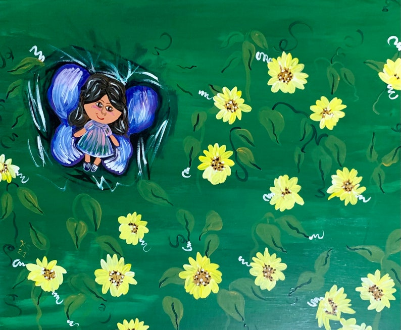 Fairy in a Field of Daisies Acrylic Painting image 0
