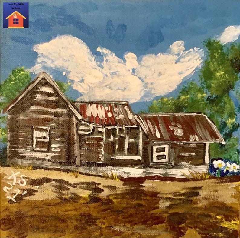 Abandoned Hovel Acrylic Painting on 6 Linen Panel image 0