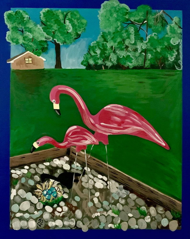 Fanciful Plastic Flamingo Family Painting 16 by 20 on Wood image 0