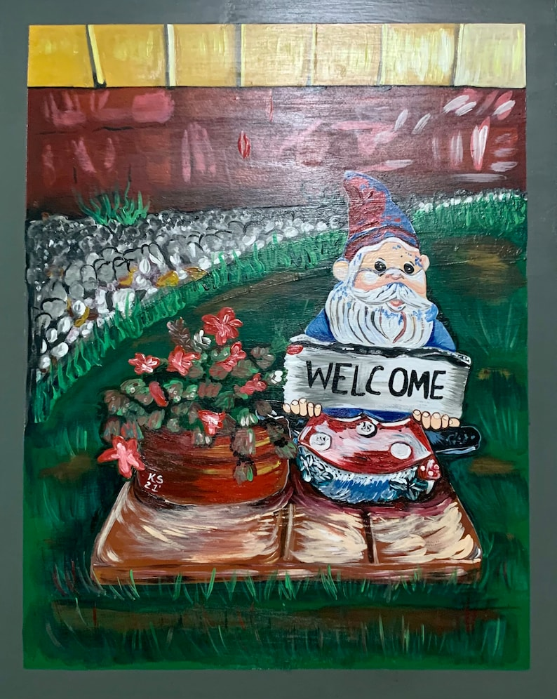 Garden Gnome Painting Acrylic on 16 by 20 Panel image 0