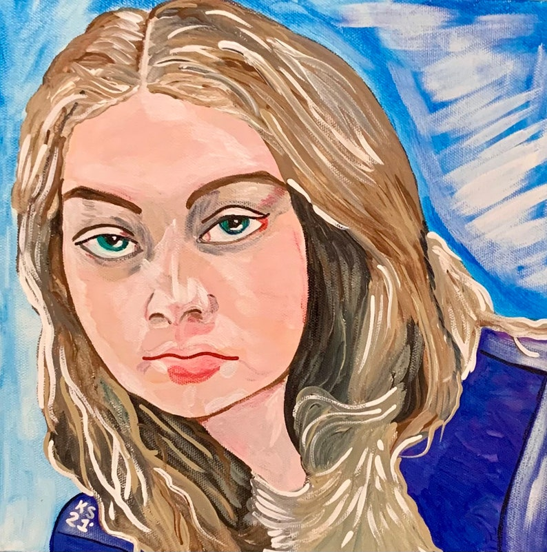 Custom Portrait in Acrylics on 12 Gallery Wrapped Canvas image 1