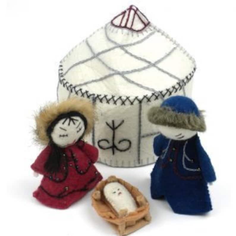 Felt Ornament White Yurt Nativity Set Felt Christmas Etsy