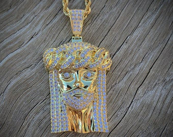 14k Fully Iced Out cuban link Jesus Piece with 14k rope chain hip hop jesus  piece cuban link 44db9307a9