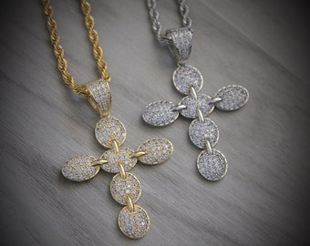 46f01bcbf 14k Diamond Cross Pendant / Gucci Style Cross / Iced out / Hip Hop Cross /  Mens Jewelry / Stainless Steel Rope Chain / Lifetime Warranty