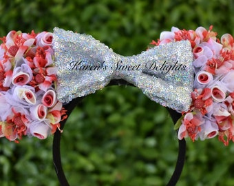 Red Flowered Minnie Ears