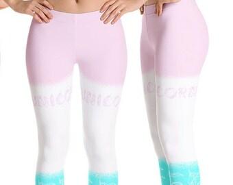 e95c8a80834 Unicorn Pastel Yoga Leggings Women 80s Adult Workout Tights Fairy Kei Capri  Gifts Gym Pants Fitness Harajuku Gear Running Pilates Athletic
