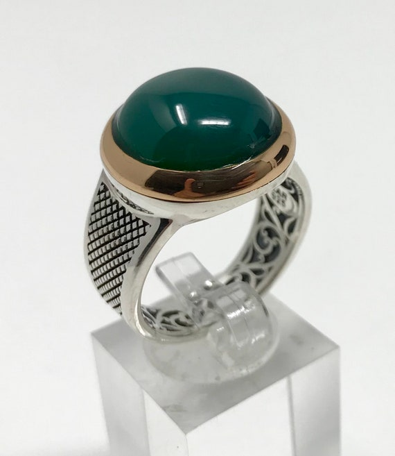 3e8ceccf2b7d8 Handmade 925k Sterling Silver Round Green Agate (Aqeeq) Stone Men's Ring  -Outstanding Gift