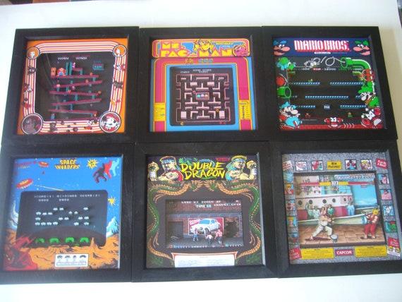 Juego Retro De Arcade Arte 3d Enmarcado Diorama De Juegos Etsy