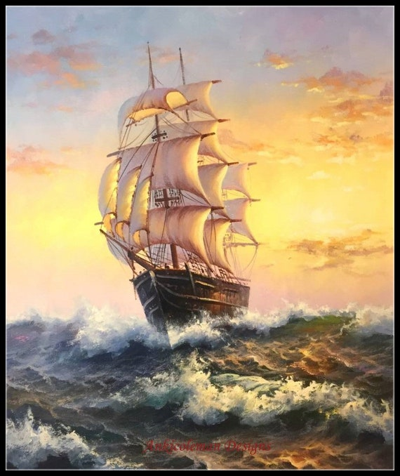 British Sailing Ship ~ Seascapes ~ DIY Counted Cross Stitch Pattern