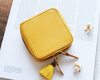 Travel Jewelry Box, Genuine Leather Portable Jewelry Case, Mini Travel Jewelry Box, Portable Travel Jewelry Organizer,  Ring Organize Case