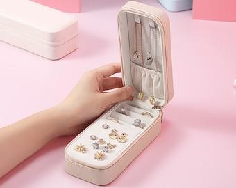 Rectangle Zippered Jewelry Organizer, Small Travel Jewelry Box, Earring Rings Necklace Organizer,Lipsticks Case,Bridesmaid Gift idea