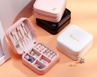 Personalized Travel Jewelry Case, Earrings Necklace rings Organizer, Multi-function Jewelry Storage Case,Bridesmaid gift,Jewellery Box