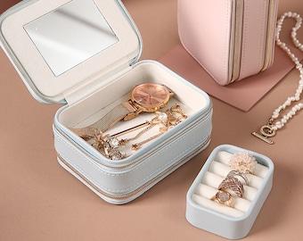 Portable Jewelry Case,Travel Jewelry Box,Travel Jewelry Organizer, Multi-function Jewelry Storage Case with Mirror,Bridesmaid Jewelry Box