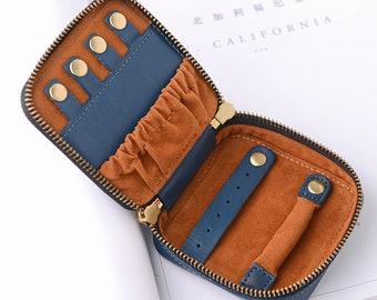 Genuine Leather Portable Jewelry Case, Mini Travel Jewelry Box, Portable Travel Jewelry Organizer,Multi-function Jewelry Wallet Storage Case