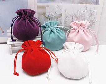 Custom Small Drawstring Jewelry Pouch, Round Bottom Jewelry Pouch, 9x11cm, Gift packaging, Jewelry Packaging and Storage, Logo Adding