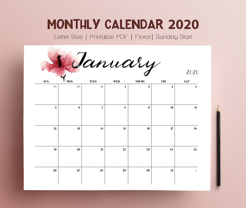 2020 Yearly Calendar Monthly Pages Planner Template Large image 0
