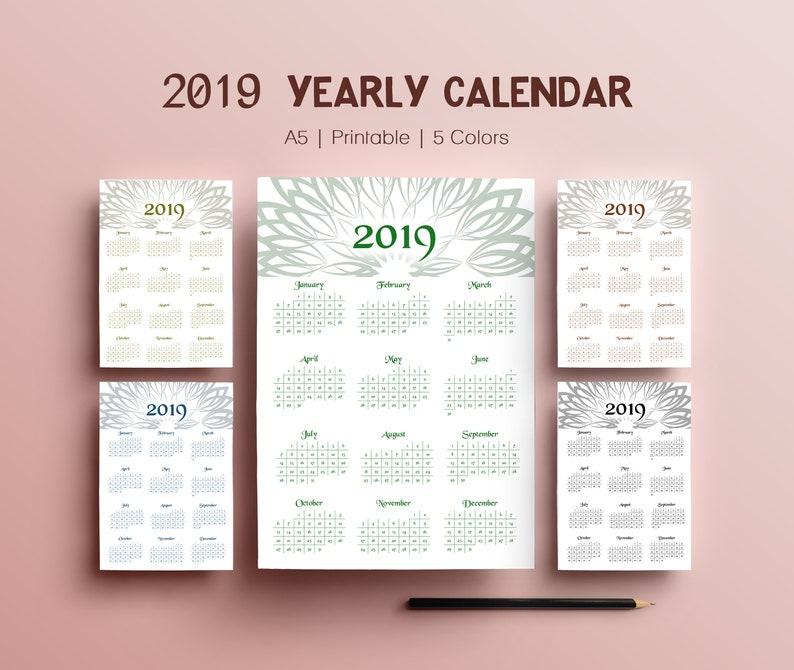 2019 Digital Yearly Wall Calendar 2019 Desk Calendar Monthly image 0