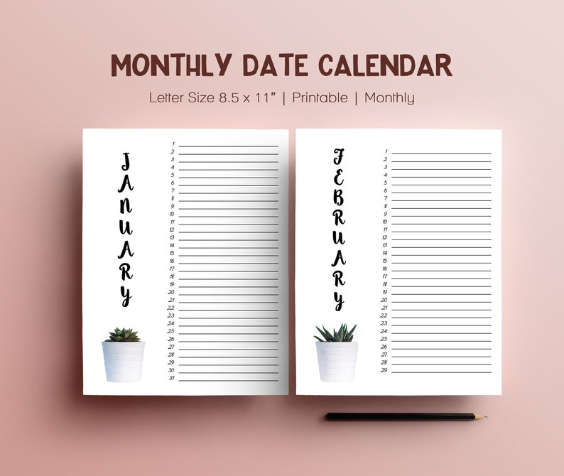 12 Months Printable Calendar Family Birthdays Monthly Dates image 0