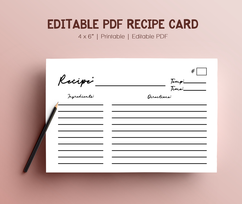 Editable Blank Recipe Binder Book Digital Template PDF Index Card With Blank Index Card Template