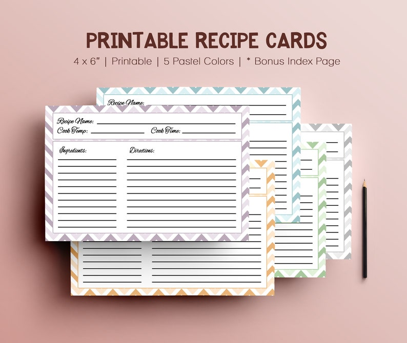 Pastel Digital Recipe Cards for Recipe Box Pages Printable image 0