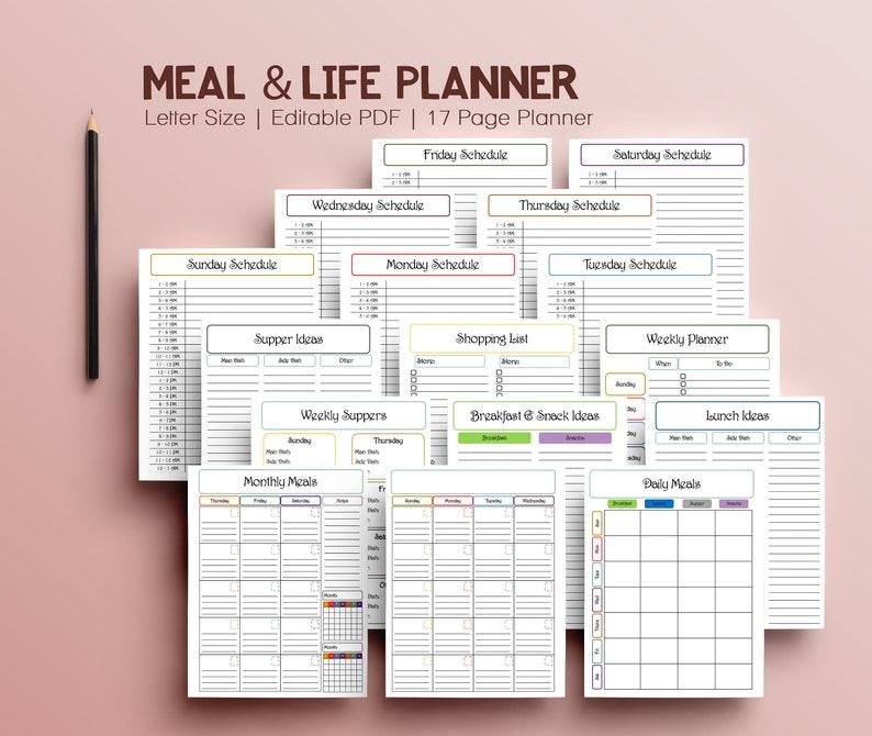Digital Food Journal Mom Planner Undated planner Printable image 0