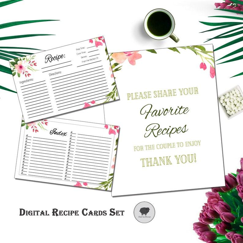 Floral Recipe Card Set Recipe Digital Recipe Card recipe image 0