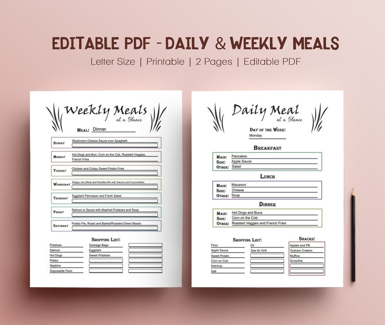 Editable PDF Meal Planner Food Journal with Shopping Lists image 0