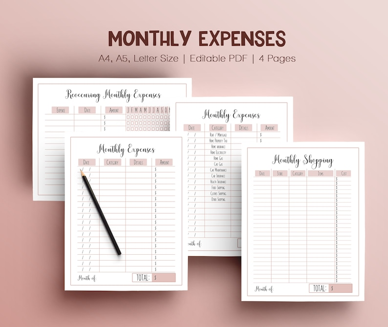 Monthly Expenses Editable PDF Personal Finance Ultimate image 0